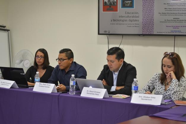 En la foto, de izquierda a derecha: Dra. María Guadalupe López, Mtro. Pedro David Cardona, Dr. Oscar Hernández y Dra. Gladys ortiz